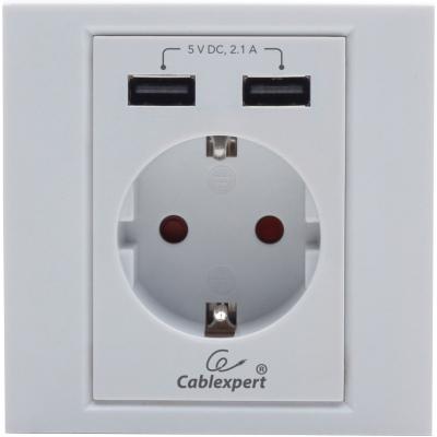 cablexpert Розетка с USB*2 зарядкой 2.1A MWS-ACUSB2-01