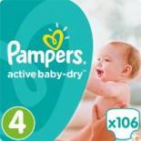 Подгузник Pampers Active Baby-Dry Maxi Размер 4 (8-14 кг), 106 шт Фото