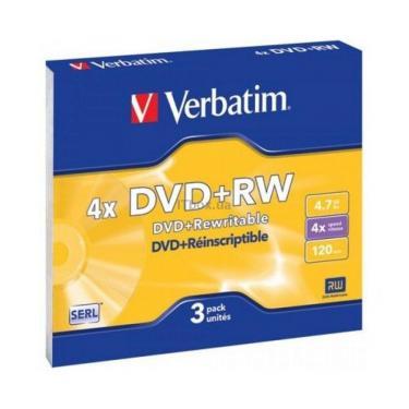 Диск DVD Verbatim 4.7Gb 4x SlimCase 3шт Matte Silver (43636) - фото 1