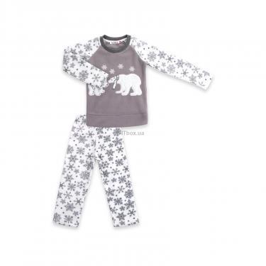 Пижама Matilda флисовая с мишками и снежинками (7161-122G-white) - фото 1