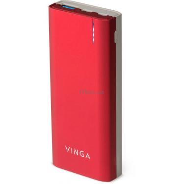 Батарея універсальна Vinga 10000 mAh soft touch red (BTPB3810QCROR) - фото 1