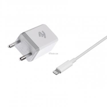 Зарядное устройство 2E USB Wall Charger USB:DC5V/2.1A +кабель Lightning 2.4A, white (2E-WC1USB2.1A-CL) - фото 2