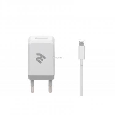 Зарядное устройство 2E USB Wall Charger USB:DC5V/2.1A +кабель Lightning 2.4A, white (2E-WC1USB2.1A-CL) - фото 1
