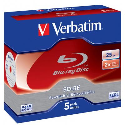 Диск BD-RE Verbatim 25Gb 2x Jewel 5шт Hard Coat (43615)
