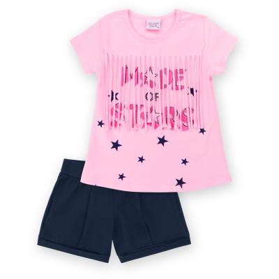 Набор детской одежды Breeze футболка со звездочками с шортами (9036-104G-pink)
